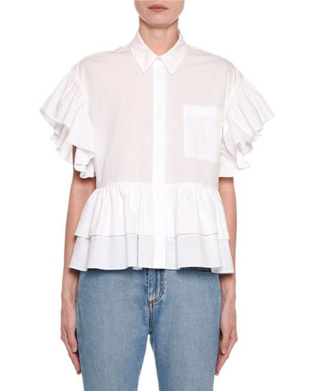 MSGM Collared Ruffle Short-Sleeve Top