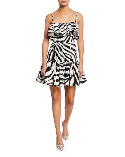 Zebra-Print Sleeveless Ruffle Dress