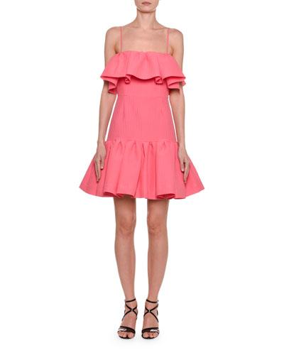 Sleeveless Square-Neck Ruffle Short Dress