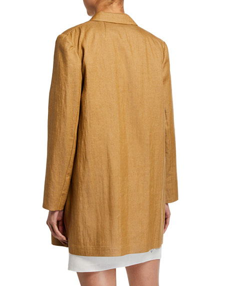 3368389cca Theory Open-Front Overlay Luxe Linen Jacket