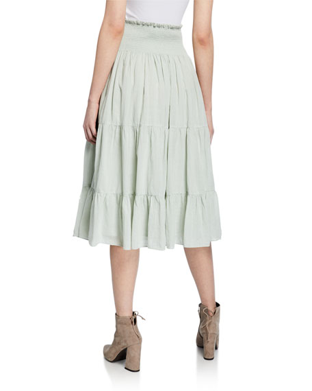 8236192e9f The Great The Blossom Tiered Midi Skirt In Light Green | ModeSens