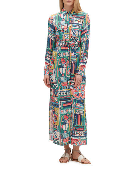 Lafayette 148 New York Doha Printed Long-Sleeve Shirtdress