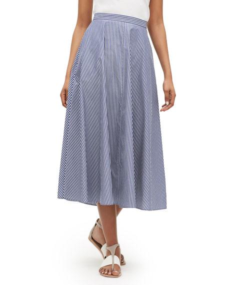 Lafayette 148 Skirts AMBRIA STRIPED MIDI COTTON SKIRT