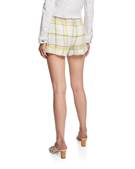 Carito Plaid High-Rise Shorts