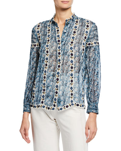 Bella Floral-Print Button-Front Long-Sleeve Blouse w/ Embroidery