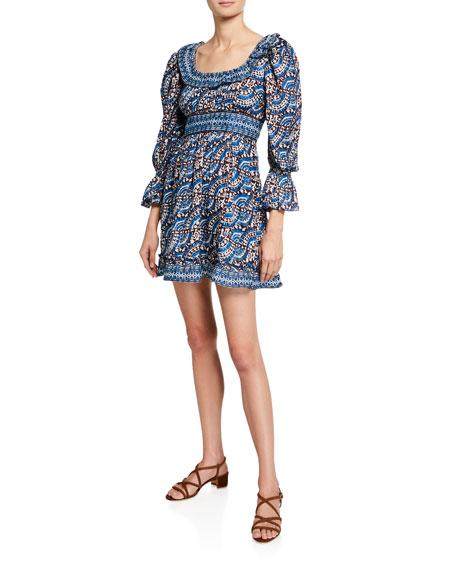 Sea Dresses LUELLA PRINTED SCOOP-NECK BLOUSON-SLEEVE MINI DRESS