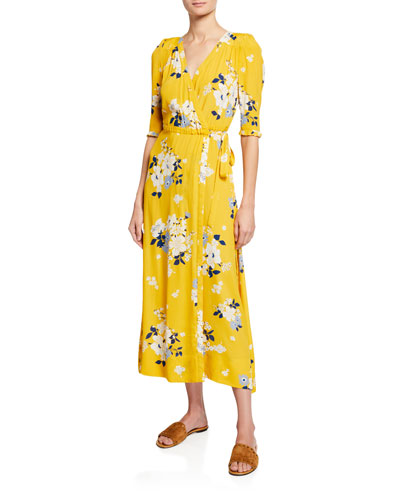 Pia 3/4-Sleeve Floral Wrap Midi Dress
