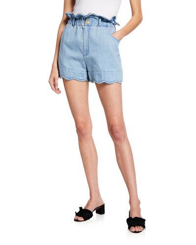 Dakota Scalloped Paperbag Shorts