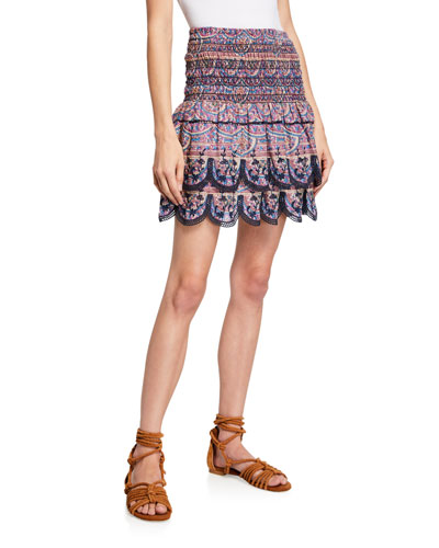 Bella Printed Smocked Mini Skirt