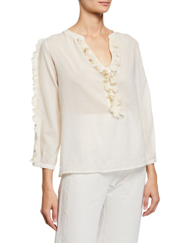 Bettina V-Neck 3/4-Sleeve Ruffle Blouse