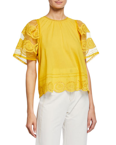 Zinnia Crewneck Sheer-Sleeve Eyelet Cotton Top