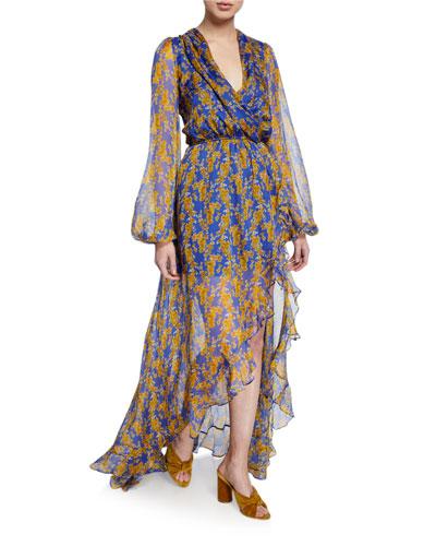 Liv Floral-Print Silk High-Low Dress