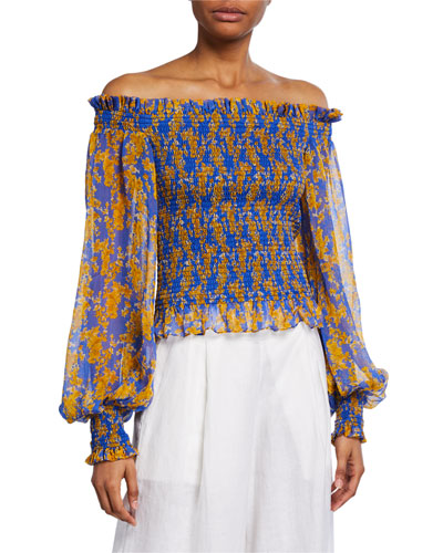 Damaris Floral Off-the-Shoulder Smocked Top