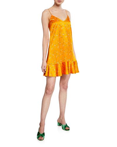Tina Floral-Printed Flounce Slip Dress