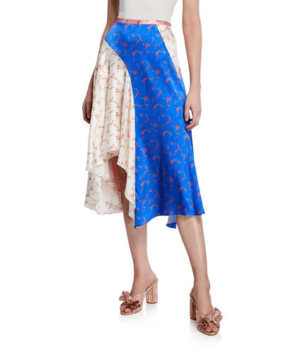 Colorblock Floral-Print Midi Flounce Skirt