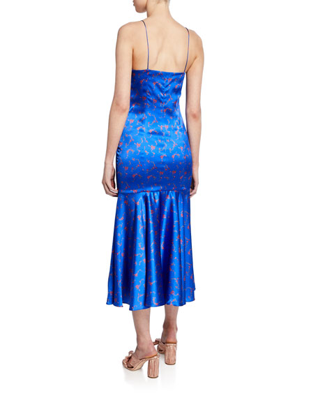 Kai Floral Drop-Waist Silk Satin Slip Dress