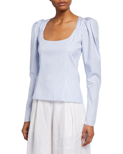 Ariana Striped Puff-Sleeve Cotton Top