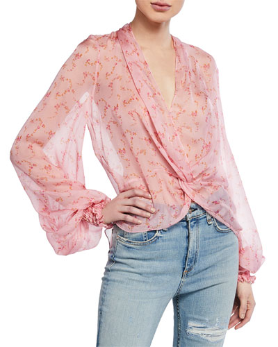 a574fda6 Bette Twist-Front Blouson-Sleeve High-Low Blouse