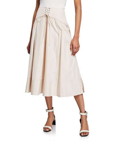Long Poplin Corset Skirt