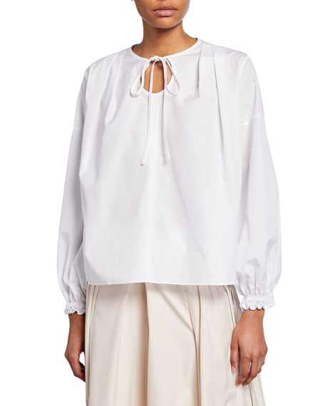 Long-Sleeve Poplin Blouse w/ Circular Cutout