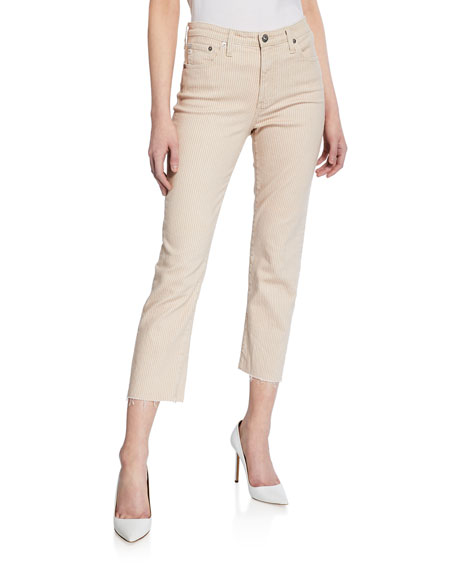 The Jodi Striped High-Rise Slim Crop Pants