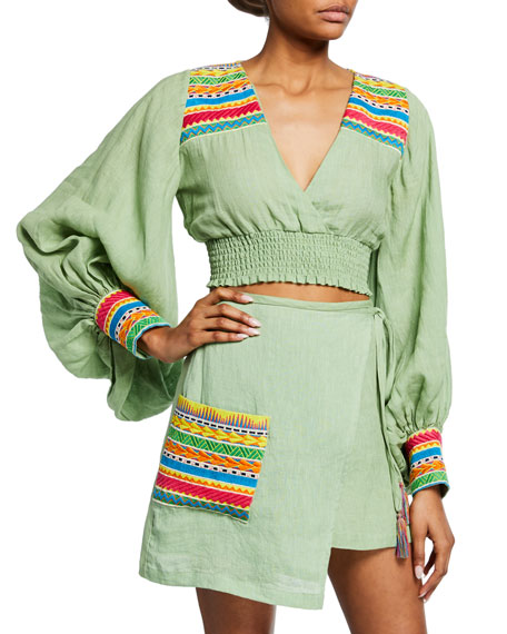 All Things Mochi Cora Cropped Blouson-Sleeve Top w/