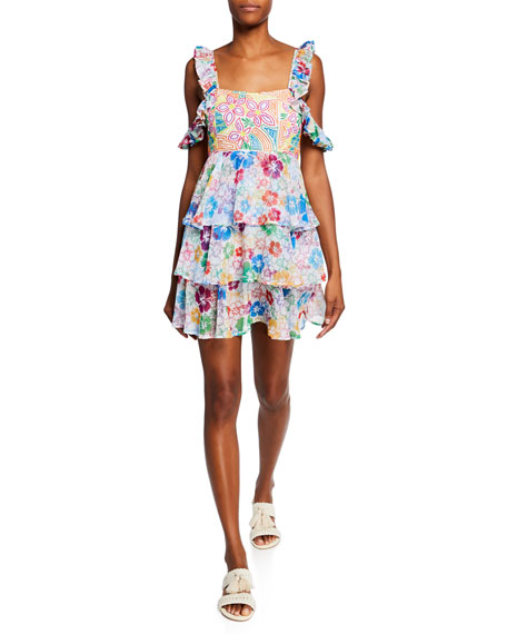 All Things Mochi Ilima Embroidered Floral Tiered Cold-Shoulder