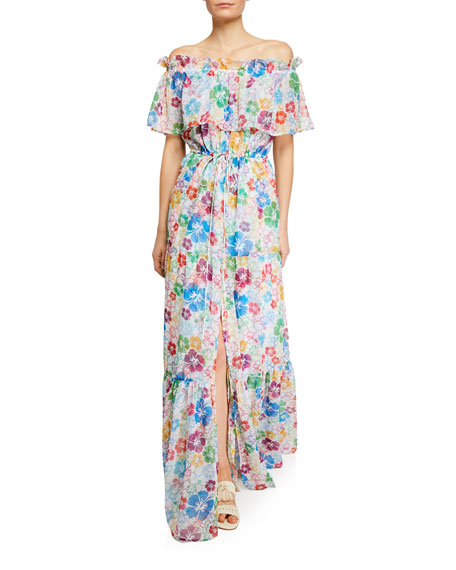 All Things Mochi Dresses KONA OFF-SHOULDER FLORAL CHIFFON SPLIT MAXI DRESS