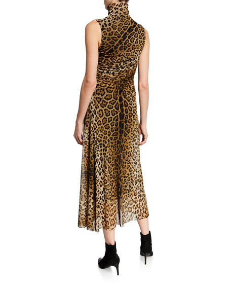Leopard-Print Turtleneck Sleeveless Ruched Dress
