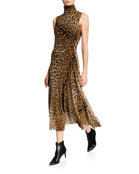 Fuzzi Dresses LEOPARD-PRINT TURTLENECK SLEEVELESS RUCHED DRESS