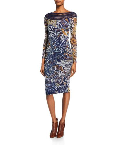Mistical Crochet-Neck Bodycon Dress