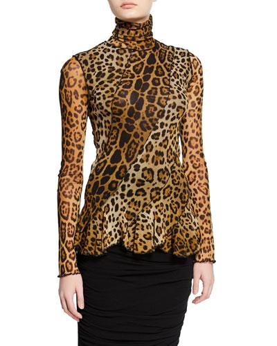 Leopard-Print Turtleneck Long-Sleeve Peplum Top