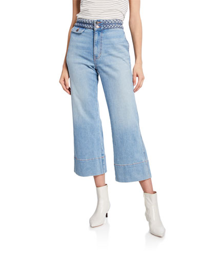 e6f7050811 The Braided High-Waist Cropped Jeans Quick Look. Current/Elliott