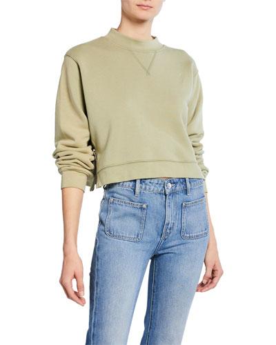 The Message Mock-Neck Side-Zip Cropped Sweatshirt