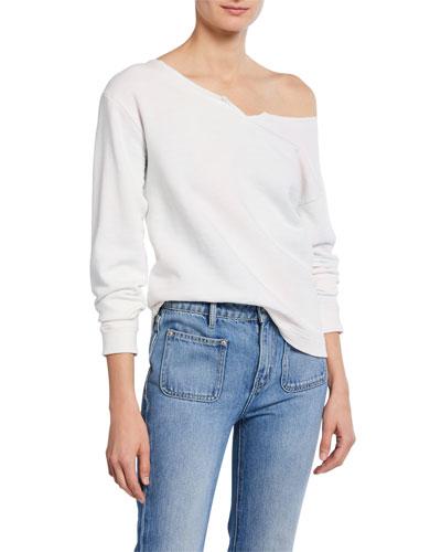 The Whisper Off-Shoulder Cotton Sweatshirt