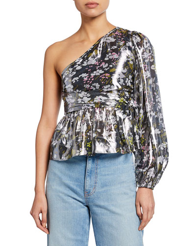 Metallic Silk One-Shoulder Floral Top