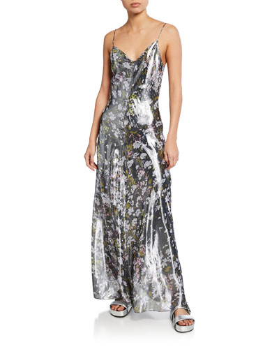 Metallic Silk Long Slip Dress