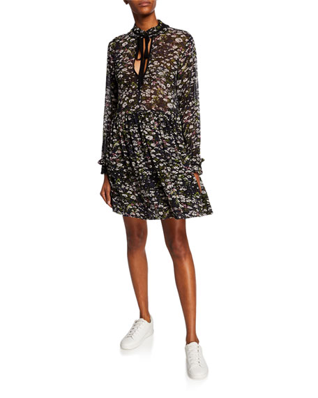 Ganni Dresses FLORAL-PRINTED TIE-NECK LONG-SLEEVE GEORGETTE DRESS