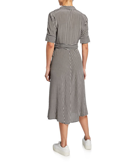 Gingham-Printed Elbow-Sleeve Crepe Wrap Dress