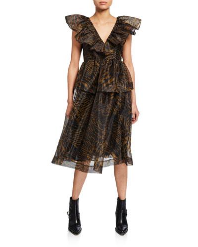 Tiger-Print Tiered Organza Dress