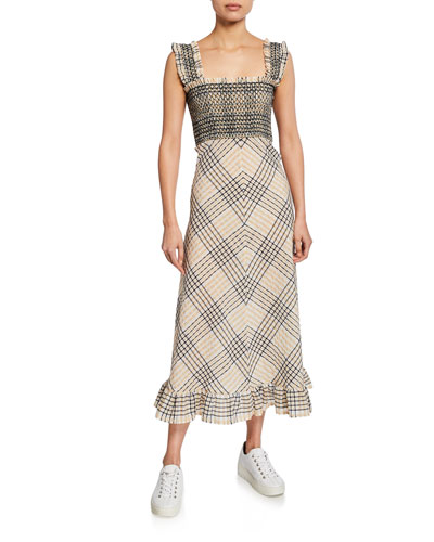 Seersucker Check Square-Neck Long Dress