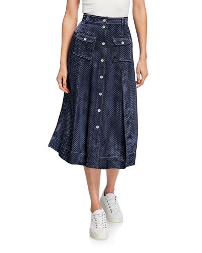 Heavy Satin Dot-Print Midi Skirt
