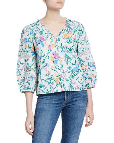 4cea32c8537e03 Goa Floral Cotton Button-Down Top Quick Look. Tanya Taylor