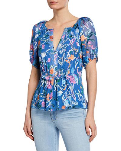 6e03271d43d8d1 Mariah Printed Short-Sleeve Top Quick Look. Tanya Taylor