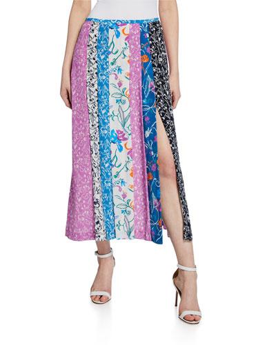 Flavia Patchwork High-Slit Skirt