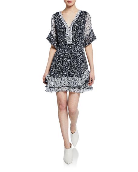 Tanya Taylor Dresses KAYLA CONTRAST SILK FLORAL RUFFLE MINI DRESS
