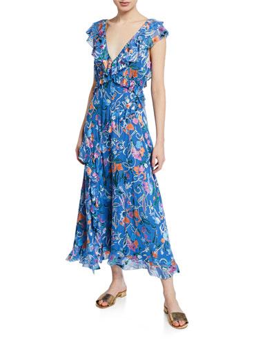 Arielle Floral-Print Ruffle Dress