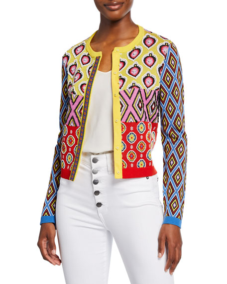 Carla Kranendonk X Alice + Olivia Ruthy Embellished Mixed-Print Button-Front Cardigan