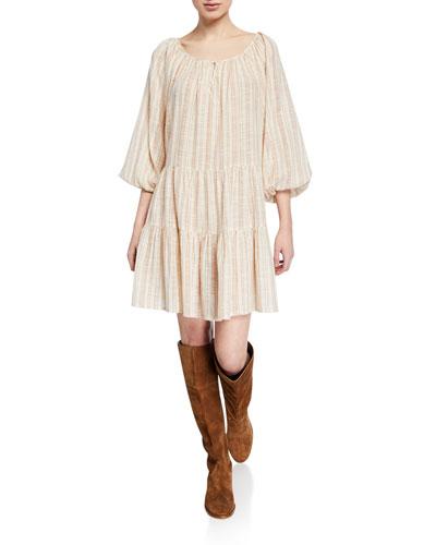The Prairie Striped Blouson-Sleeve Dress
