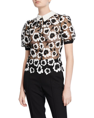 Abstract Floral Guipure Top
